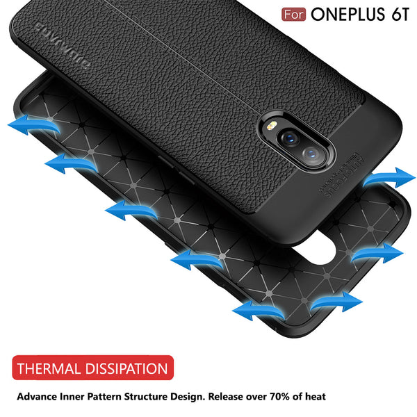 OnePlus 6T Case, COVRWARE [L Series] with [Tempered Glass Screen Protector] TPU Leather Texture Design Cover [Light Weight], Black