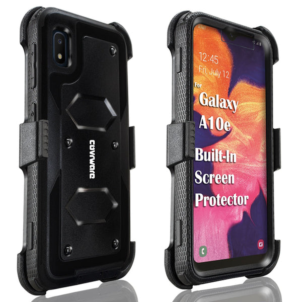 Samsung Galaxy A10e Case, COVRWARE [ Aegis Series ] with Built-in [Screen Protector] Heavy Duty Full-Body Rugged Holster Armor Case [Belt Swivel Clip][Kickstand]