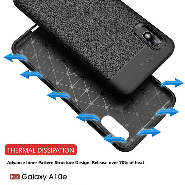 Samsung Galaxy A10e Case, COVRWARE [L Series] with [Tempered Glass Screen Protector] TPU Leather Texture Design Cover [Light Weight], Black