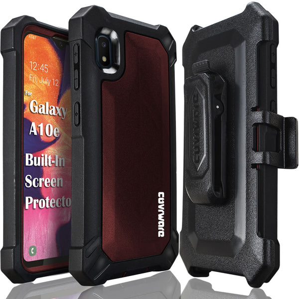 Samsung Galaxy A10E Case, COVRWARE [ Aegis Pro Series ] with Built-in [Screen Protector] Heavy Duty Full-Body Rugged Holster Armor Cover [Belt Swivel Clip][Kickstand]