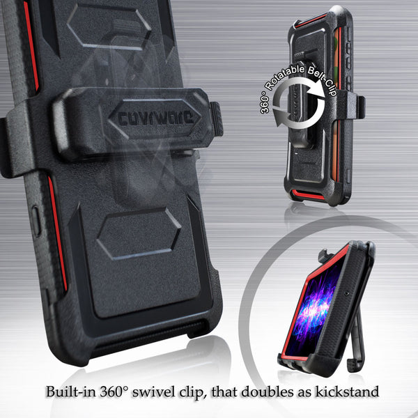 Samsung Galaxy A11 Case, COVRWARE [ Aegis Series ] with Built-in [Screen Protector] Heavy Duty Full-Body Rugged Holster Armor Case [Belt Swivel Clip][Kickstand]