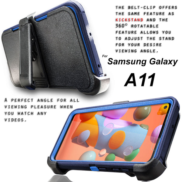 Samsung Galaxy A11 Case, COVRWARE [Tri Series] with Built-in [Screen Protector] Triple Layers Heavy Duty Full-Body Protective Armor Holster Cove