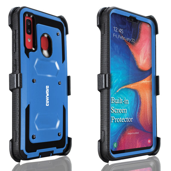 Samsung Galaxy A20 / A30 / A50 Case, COVRWARE [ Aegis Series ] with Built-in [Screen Protector] Heavy Duty Full-Body Rugged Holster Armor Case [Belt Swivel Clip][Kickstand]
