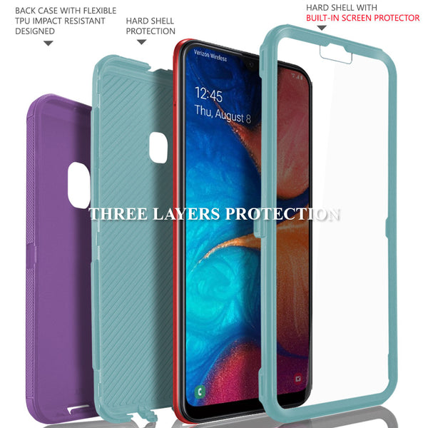 Samsung Galaxy A20 / A30 / A50 Case, COVRWARE [Tri Series] with Built-in [Screen Protector] Heavy Duty Full-Body Triple Layers Protective Armor Holster Case