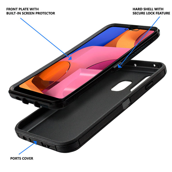 Samsung Galaxy A20S (A207M) Case, COVRWARE [Tri Series] with Built-in [Screen Protector] Heavy Duty Full-Body Triple Layers Protective Armor Holster Case