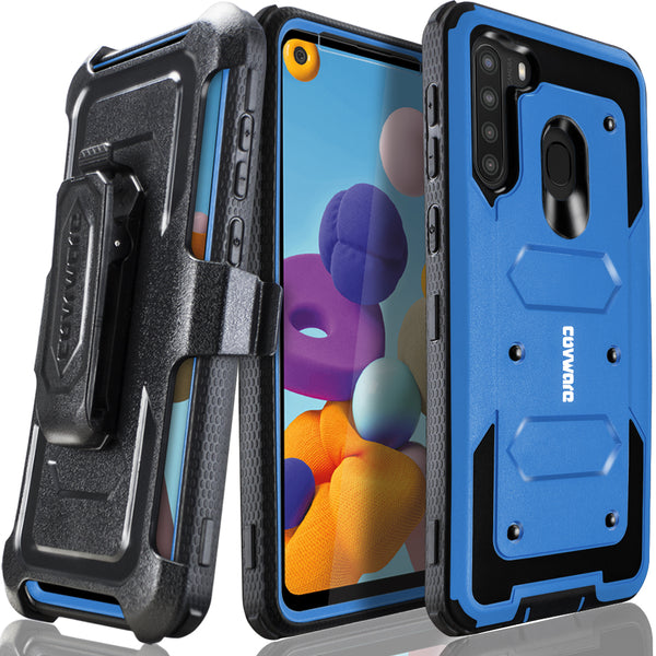 Samsung Galaxy A21 Case, COVRWARE [ Aegis Series ] with Built-in [Screen Protector] Heavy Duty Full-Body Rugged Holster Armor Case [Belt Swivel Clip][Kickstand]