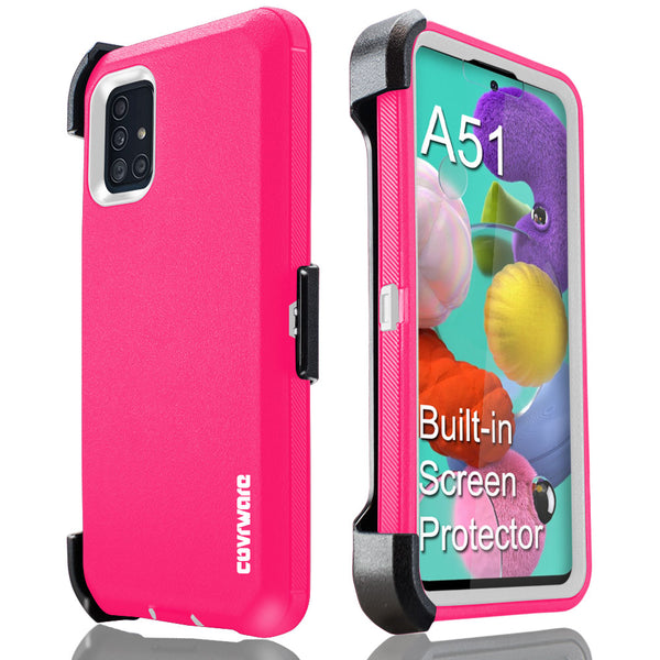 Samsung Galaxy A51 Case [NOT FIT Galaxy A51 5G Version], COVRWARE [Tri Series] with Built-in [Screen Protector] Triple Layers Heavy Duty Full-Body Protective Armor Holster Cove
