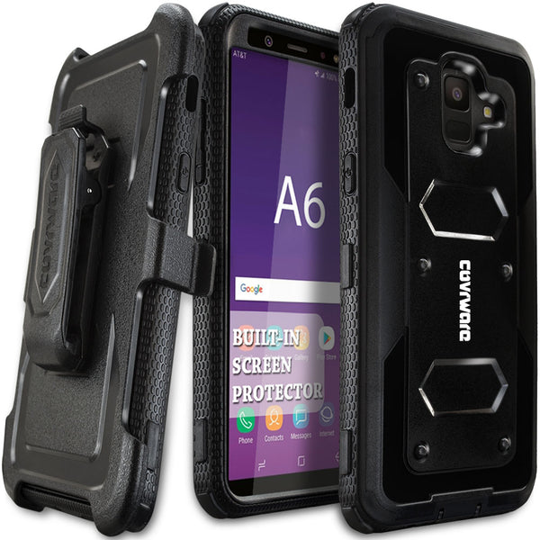 Galaxy A6 COVRWARE [Aegis Series] Case [Built-in Screen Protector] Heavy Duty Full-Body Rugged Holster Armor Case [Belt Clip][Kickstand] for Samsung Galaxy A6 (2018)
