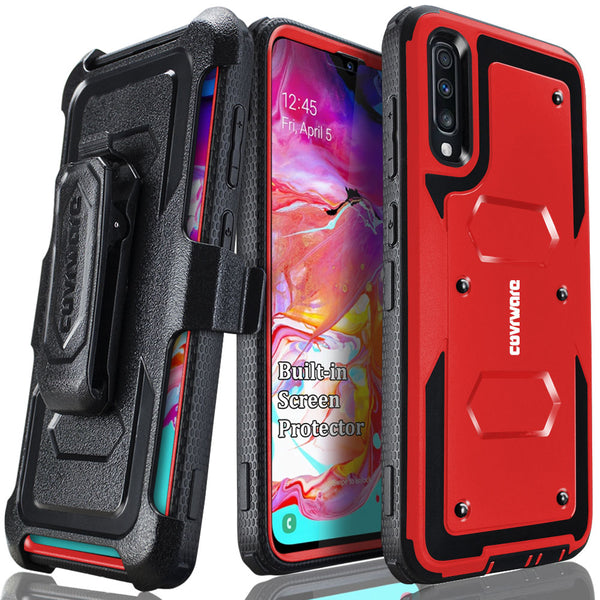 Samsung Galaxy A70 Case, COVRWARE [ Aegis Series ] with Built-in [Screen Protector] Heavy Duty Full-Body Rugged Holster Armor Case [Belt Swivel Clip][Kickstand]