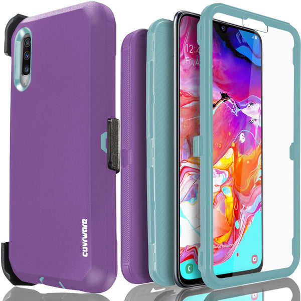 Samsung Galaxy A70 Case, COVRWARE [Tri Series] with Built-in [Screen Protector] Triple Layers Heavy Duty Full-Body Protective Armor Holster Cove