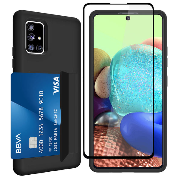 Samsung Galaxy A71 5G Dual Layers 3 Cards Slot Protective Armor Case with Tempered Glass Screen Protector