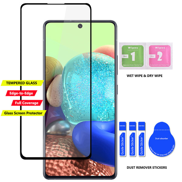 Samsung Galaxy A71 5G Case Tempered Glass Screen Protector] Dual Layers 3 Cards Slot Protective Armor Cover