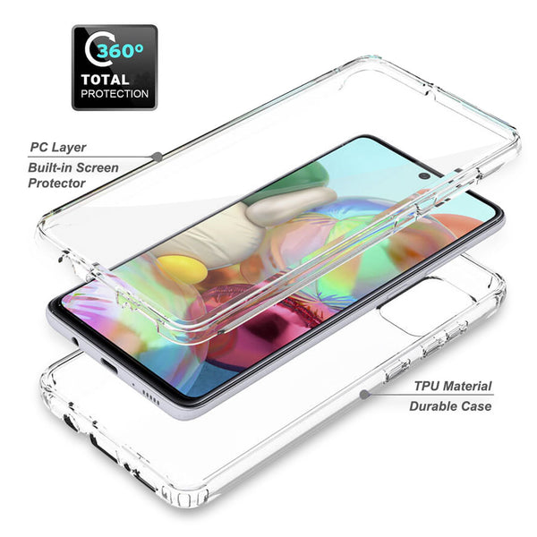 Samsung Galaxy A71 5G Case, Dual Layer Soft TPU Phone Cover with Built-in Screen Protector, Wireless Charging