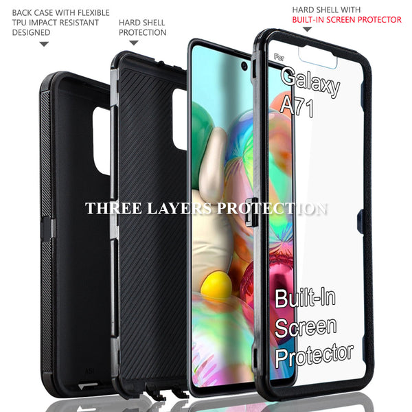 Samsung Galaxy A71 5G Case, COVRWARE [Tri Series] with Built-in [Screen Protector] Heavy Duty Full-Body Triple Layers Protective Armor Holster Case