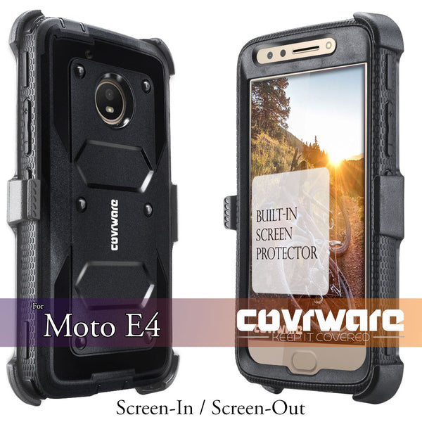 Moto E4 / Moto E (4th Generation) [ Aegis Series ] Full-Body Armor Rugged Holster Case with Built-in Screen Protector