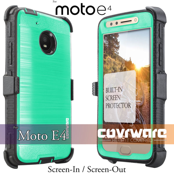 Moto E4 / Moto E (4th Gen / 2017) [IRON TANK Series] Brushed Metal Texture Designed Holster Case with Built-in Screen Protector