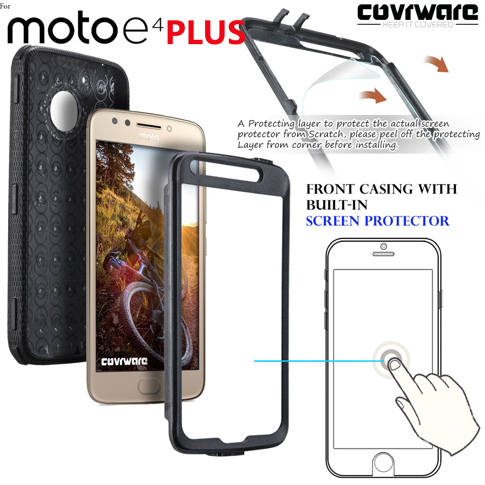 brand new dcf24 1685b Moto E4 PLUS / Moto E PLUS (4th Gen) [ Aegis Series ] Full-Body Armor  Rugged Holster Case with Built-in Screen Protector