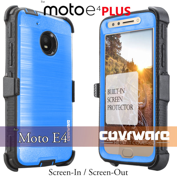 Moto E4 PLUS / Moto E PLUS (4th Gen / 2017) [IRON TANK Series] Brushed Metal Texture Designed Holster Case with Built-in Screen Protector