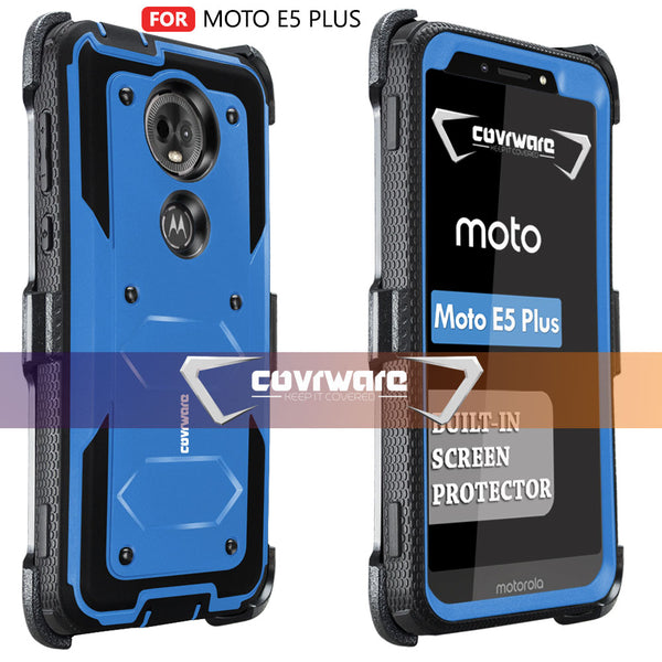 Moto E5 Plus / E5 Supra / G7 Power [ Aegis Series ] Full-Body Armor Rugged Holster Case with Built-in Screen Protector [Kickstand][Belt-Clip]