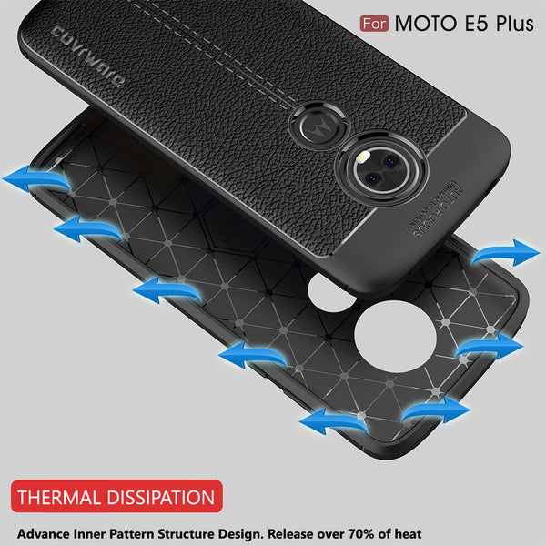 Moto E5 PLUS / E5 Supra Case, COVRWARE [L Series] with [Tempered Glass Screen Protector] TPU Leather Texture Design Cover [Light Weight], Black