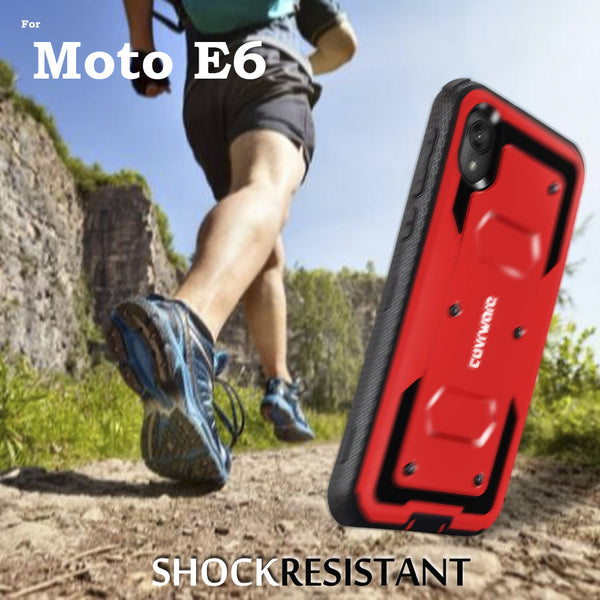 Motorola Moto E6 COVRWARE [Aegis Series] Case [Built-in Screen Protector] Heavy Duty Full-Body Rugged Holster Armor Case [Belt Clip][Kickstand]