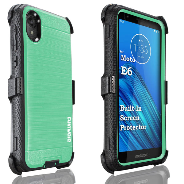 Motorola Moto E6 COVRWARE [Iron Tank Series] Case [Built-in Screen Protector] Heavy Duty Full-Body Rugged Holster Armor [Brushed Metal Texture Designed]Case [Belt Clip][Kickstand]