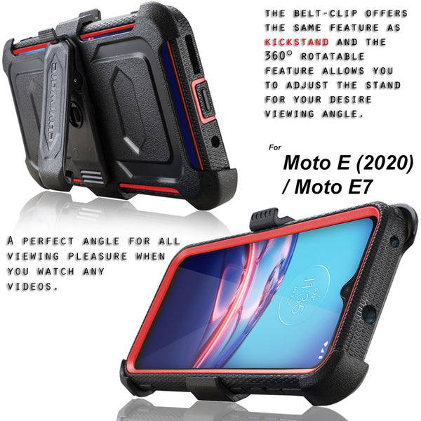 Covrware for Moto E (2020) / E7 Case [Built-in Screen Protector] Holster Belt Swivel Clip Kickstand Heavy Duty Full Body Armor Shockproof Protective Case [Aegis Series]