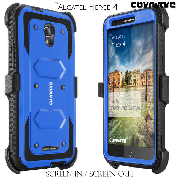 Alcatel Fierce 4 / Allura [ Aegis Series ] Full-Body Armor Rugged Holster Case with Built-in Screen Protector [Kickstand][Belt-Clip]