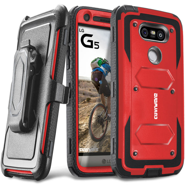 LG G5 [ Aegis Series ] Full-Body Armor Rugged Holster Case with Built-in Screen Protector [Kickstand][Belt-Clip]
