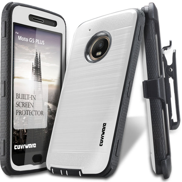 Moto G5 PLUS [IRON TANK Series] Brushed Metal Texture Designed Holster Case with Built-in Screen Protector