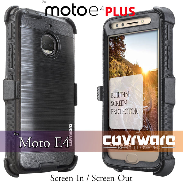 Moto G5S PLUS Case [IRON TANK Series] Brushed Metal Texture Designed Holster Case with Built-in Screen Protector