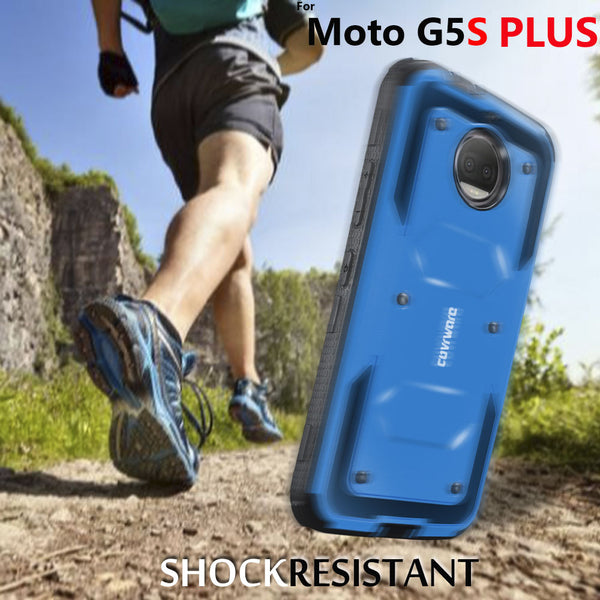 Moto G5S Plus [ Aegis Series ] Full-Body Armor Rugged Holster Case with Built-in Screen Protector [Kickstand][Belt-Clip]