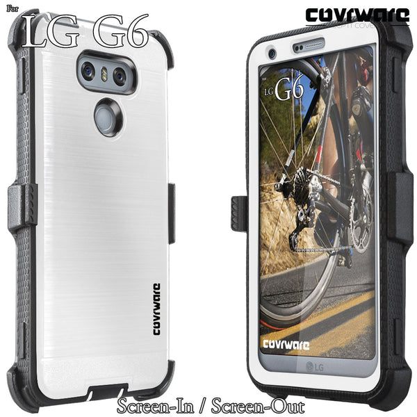 LG G6 [IRON TANK Series] Brushed Metal Texture Holster Case with Built-in Screen Protector [Kickstand]