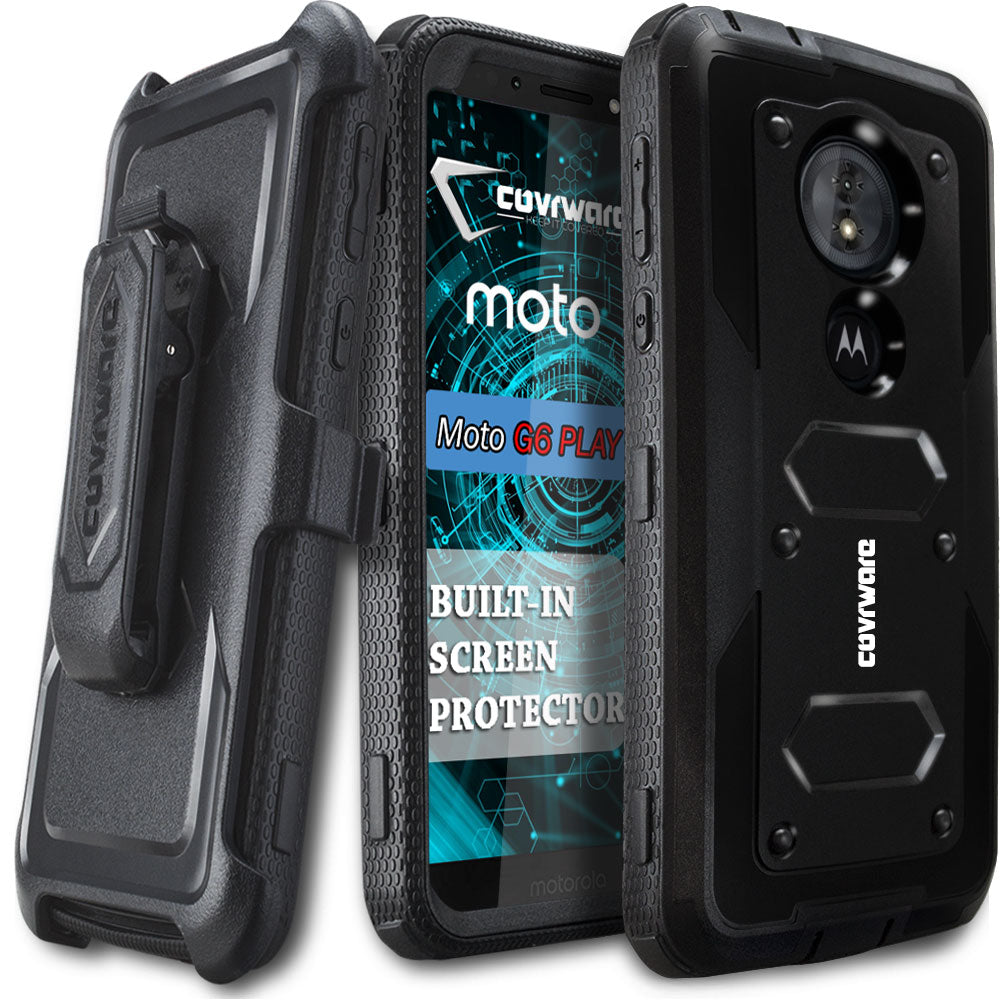 brand new 9364b f26b3 Moto G6 PLAY / Moto G6 Forge / Moto E5 (XT1920DL) [ Aegis Series ]  Full-Body Armor Rugged Holster Case with Built-in Screen Protector ...