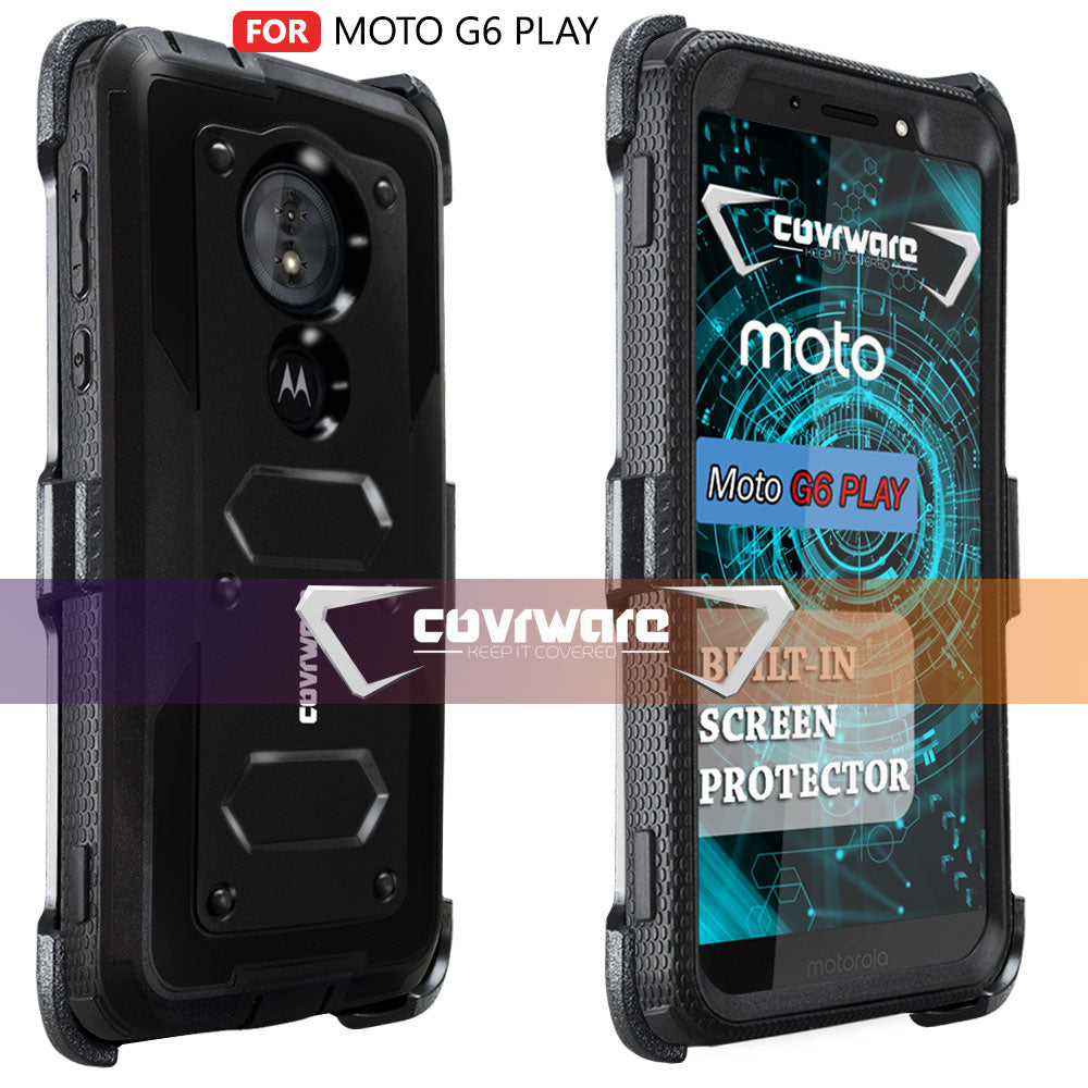 brand new 663f4 aad09 Moto G6 PLAY / Moto G6 Forge / Moto E5 (XT1920DL) [ Aegis Series ]  Full-Body Armor Rugged Holster Case with Built-in Screen Protector ...