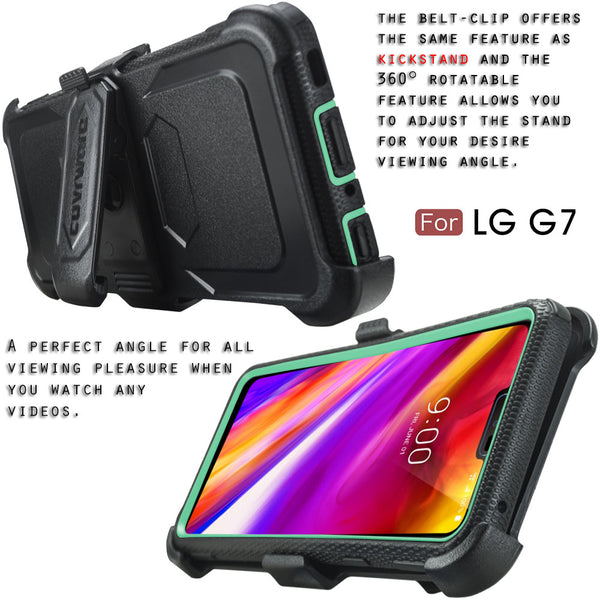 LG G7 ThinQ [ Aegis Series ] Full-Body Armor Rugged Holster Case with Built-in Screen Protector [Kickstand][Belt-Clip]