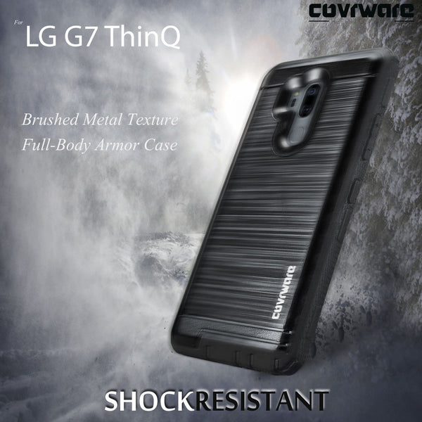 LG G7 ThinQ [IRON TANK Series] Brushed Metal Texture Holster Case with Built-in Screen Protector [Kickstand][Belt-Clip]