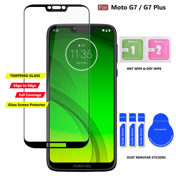 COVRWARE Card Slot Case Compatible with Moto G7 / G7 PLUS, [Tempered Glass Screen Protector] Dual Layers 3 Cards Slot Protective Armor Cover