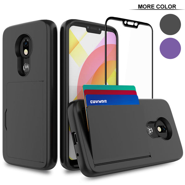 COVRWARE Card Slot Case Compatible with Moto G7 Power (XT1955), [Tempered Glass Screen Protector] Dual Layers 3 Cards Slot Protective Armor Cover
