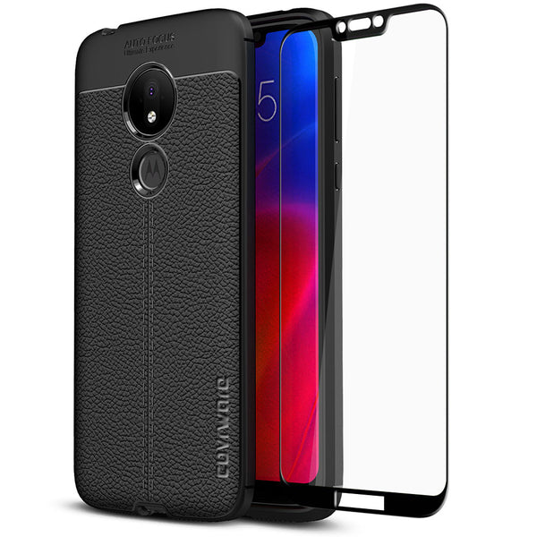 Moto G7 Power Case, COVRWARE [L Series] with [Tempered Glass Screen Protector] TPU Leather Texture Design Cover [Light Weight]