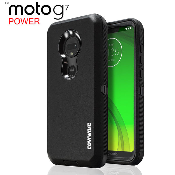 Moto G7 Power (XT1955), COVRWARE [Tri Series] w/ Built-in [Screen Protector] Heavy Duty Full-Body Triple Layers Protective Armor Case