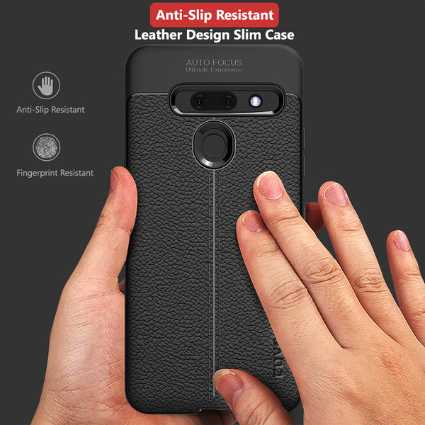 LG G8 Thinq Case, COVRWARE [L Series] with [Tempered Glass Screen Protector] TPU Leather Texture Design Cover [Light Weight]