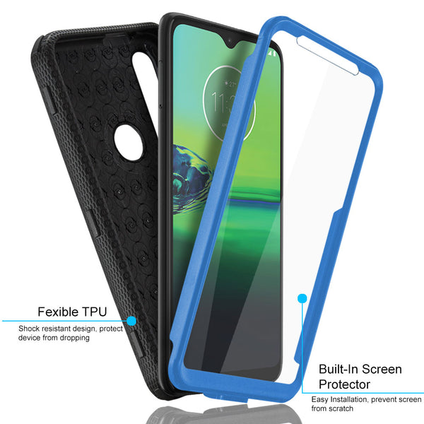 Moto G8 Play / G8 Plus COVRWARE [Aegis Series] Case [Built-in Screen Protector] Heavy Duty Full-Body Rugged Holster Armor Case [Belt Clip][Kickstand]
