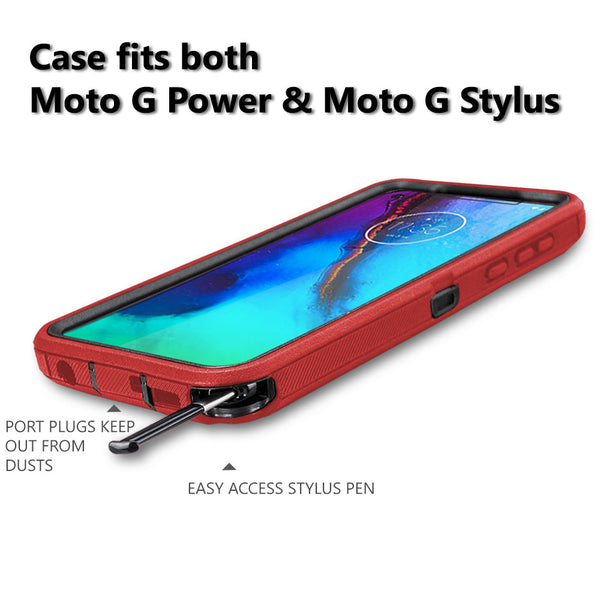 COVRWARE Moto G Stylus / Moto G Power (2020) Case, [Tri Series] with Built-in [Screen Protector] Heavy Duty Full-Body Triple Layers Protective Armor Holster Case