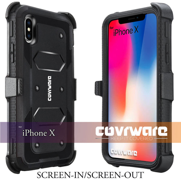 Apple iPhone X / iPhone 10 [ Aegis Series ] Full-Body Armor Rugged Holster Case with Built-in Screen Protector [Kickstand][Belt-Clip]