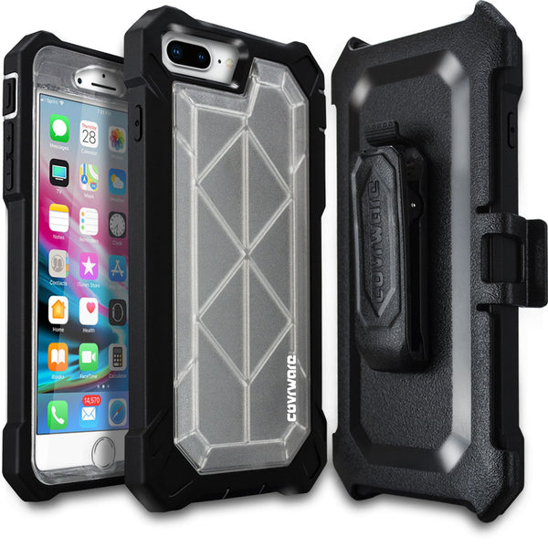 iPhone 8 Plus / iPhone 7 Plus [Ranger Pro] Full-Body Armor Holster Case with Built-in Screen Protector [Kickstand][Belt-Clip]