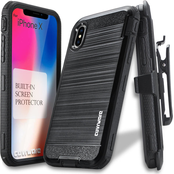Apple iPhone X / iPhone 10 [IRON TANK Series] Brushed Metal Texture Designed Holster Case with Built-in Screen Protector