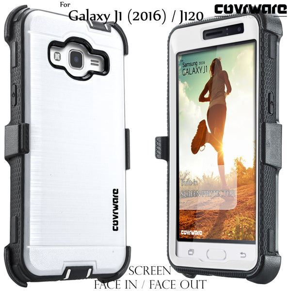 Samsung Galaxy Luna / J1 (2016) J120 / Amp 2 / Express 3 [IRON TANK Series] Brushed Metal Texture Holster Case with Built-in Screen Protector