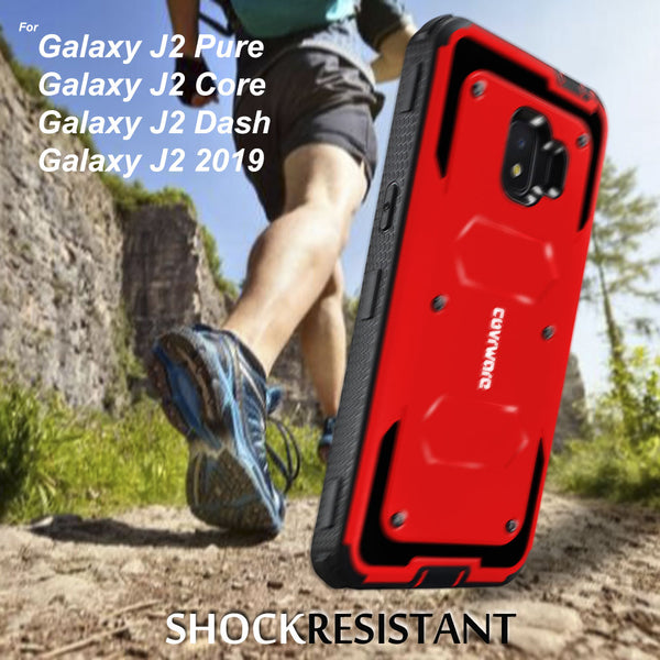 Samsung Galaxy J2 Pure / J2 Core / J2 Dash / J2 2019 COVRWARE [Aegis Series] Case [Built-in Screen Protector] Heavy Duty Full-Body Rugged Holster Armor Case [Belt Clip][Kickstand]