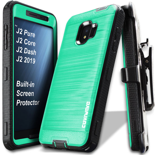 Samsung Galaxy J2 Pure / J2 Core / J2 Dash / J2 2019 [IRON TANK Series] Brushed Metal Texture Holster Case with Built-in Screen Protector [Kickstand][Belt-Clip]